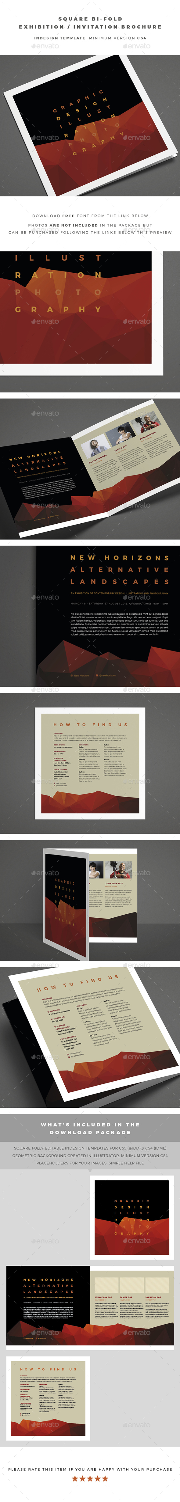 Square Bi-Fold Exhibition / Invitation Brochure - Brochures Print Templates