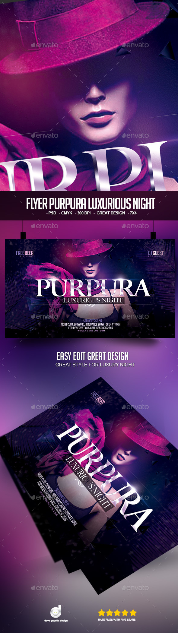 Flyer Purpura Luxurious Night  - Clubs & Parties Events