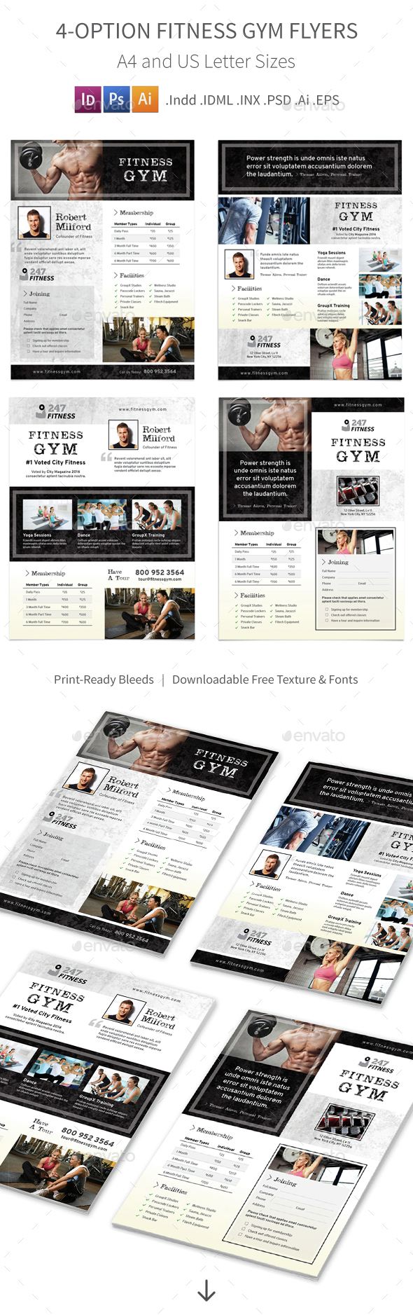 Fitness Gym Flyers  3 – 4 Options - Corporate Flyers