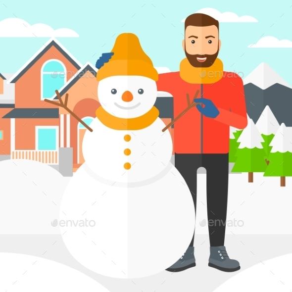 Man Posing Near Snowman - People Characters