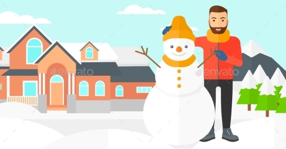 Man Posing Near Snowman - People Characters