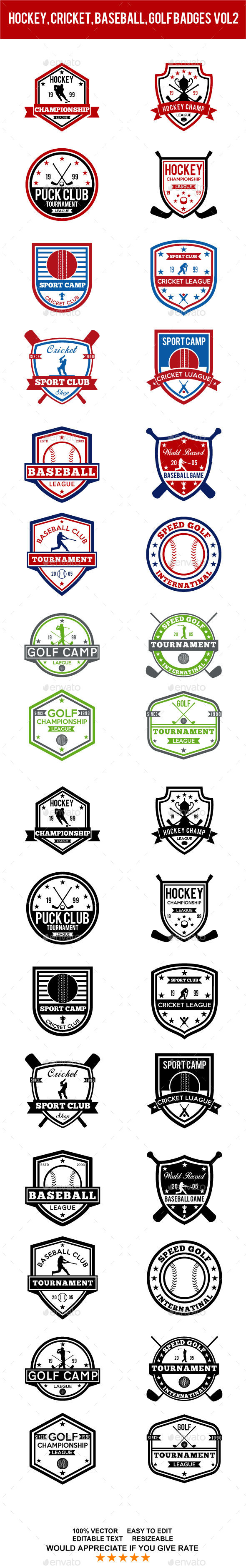 baseball, golf, cricket, hockey badges vol2 - Badges & Stickers Web Elements