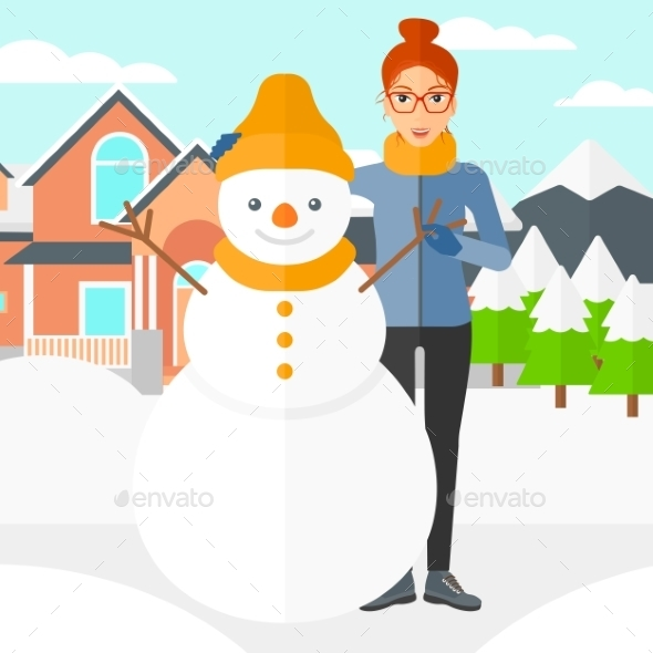 Woman Posing Near Snowman - People Characters