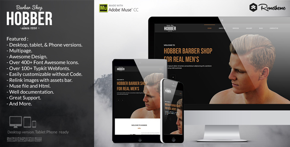 Hobber – Barbershop, Hair & Salon Muse Template