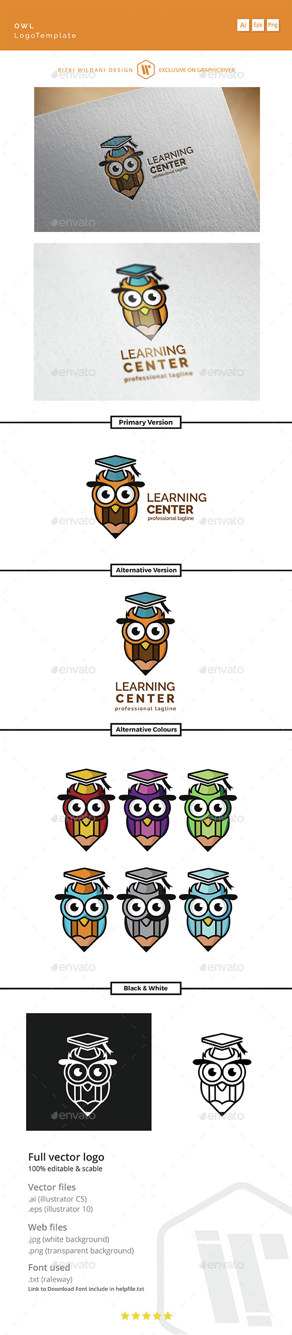 Learning Center - Logo Owl Template - Vector Abstract