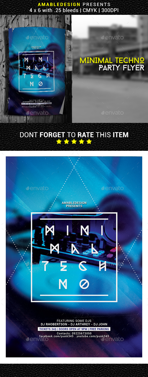 Minimal Techno Party Flyer - Clubs & Parties Events