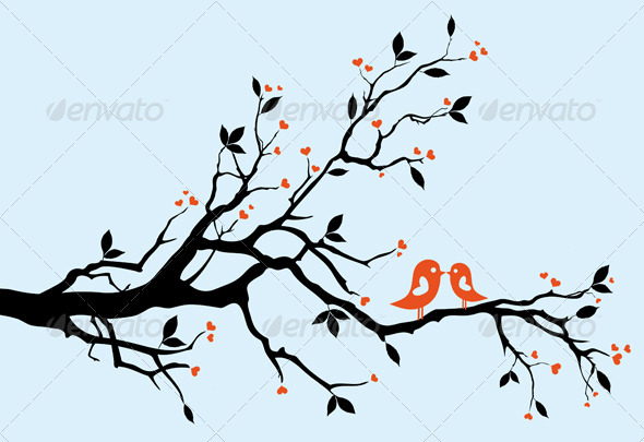 Kissing Birds On Heart Tree - Valentines Seasons/Holidays