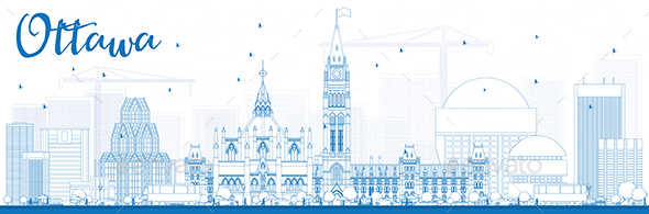 Outline Ottawa Skyline with Blue Buildings. - Buildings Objects