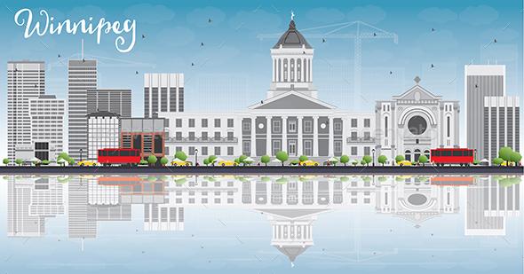 Winnipeg Skyline with Gray Buildings. - Buildings Objects