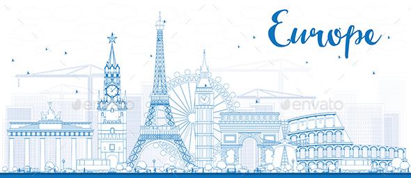 Famous Landmarks in Europe. - Buildings Objects
