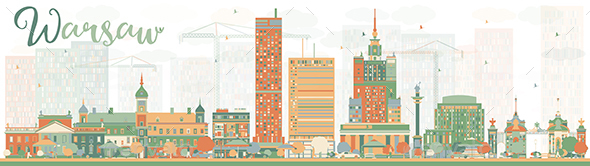 Abstract Warsaw Skyline with Color Buildings.  - Buildings Objects