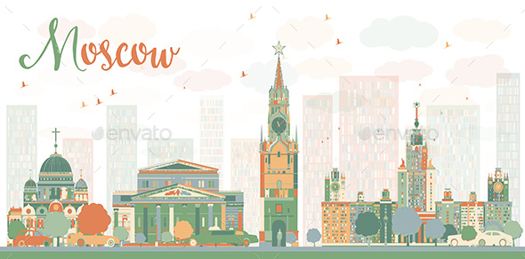 Moscow City Skyline with Color Buildings.  - Buildings Objects
