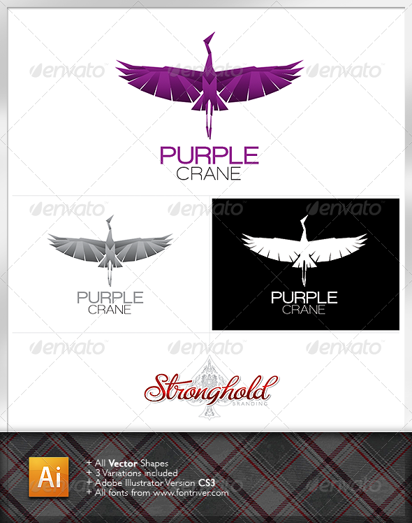 Purple Crane Logo by getstronghold | GraphicRiver