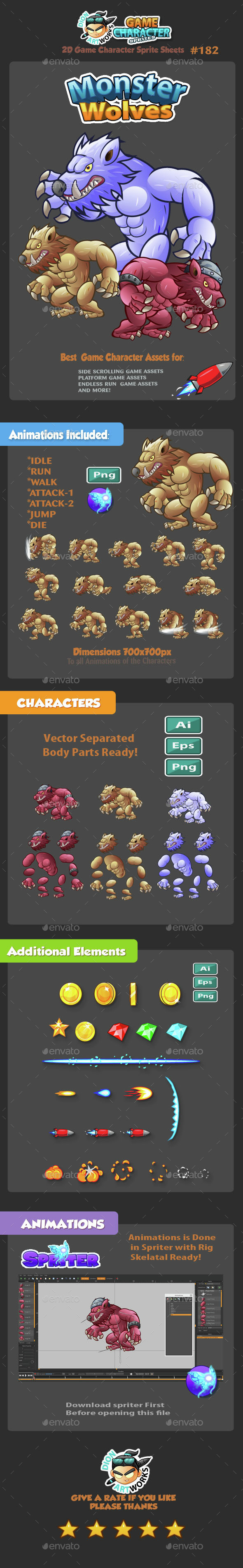 Monster Wolves 2D Game Character Sprites 182 - Sprites Game Assets