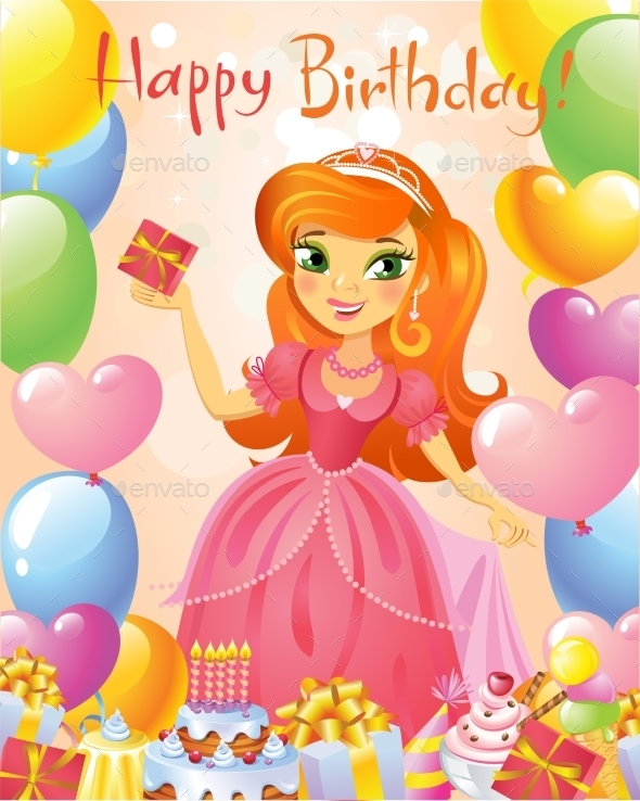 Happy Birthday, Princess, Greeting Card.  - Birthdays Seasons/Holidays