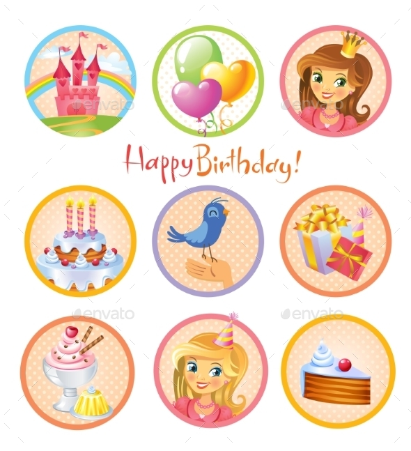 Cute Birthday Stickers - Birthdays Seasons/Holidays