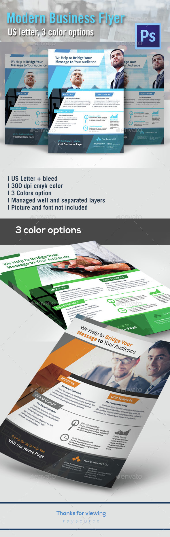 Corporate Flyer US Letter - 3 colors - Corporate Flyers