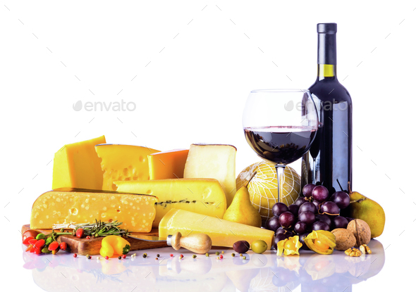 Cheese and Wine on White Background - Stock Photo - Images