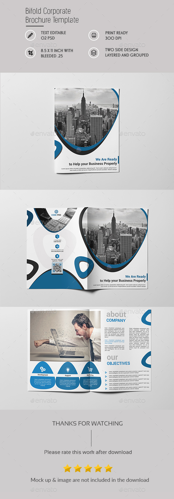 Corporate Bi fold Brochureu Template - Brochures Print Templates