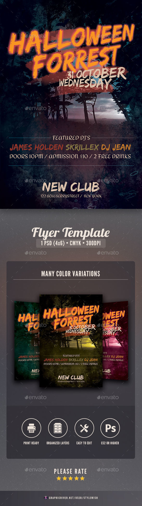 Halloween Forrest Flyer - Events Flyers