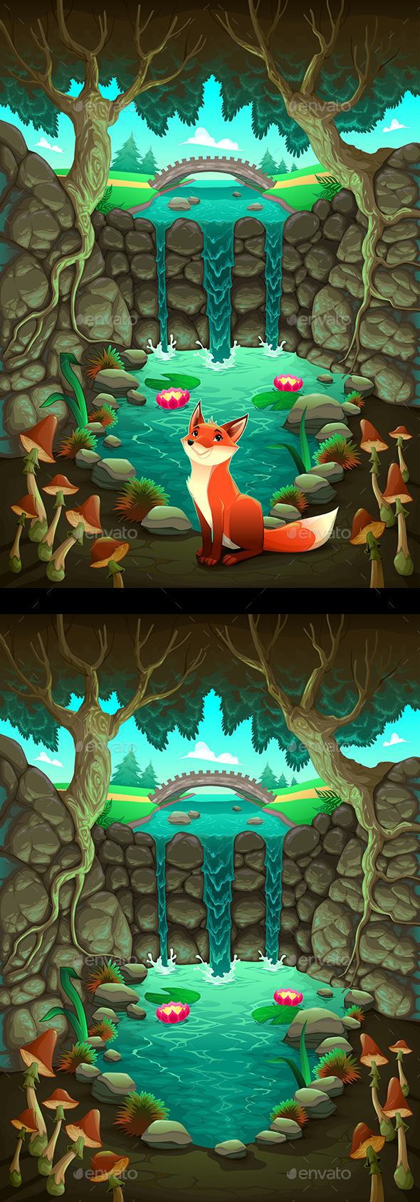 The Fox Near a Pond - Landscapes Nature
