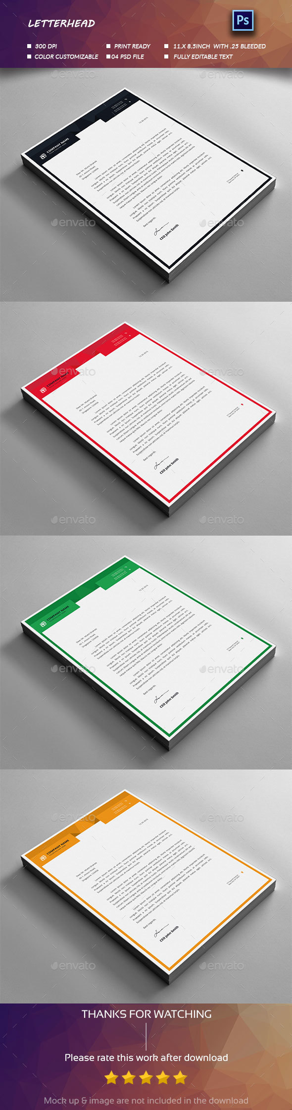 Letterhead Design - Stationery Print Templates