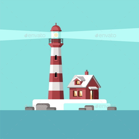 Sea and a Lighthouse Solitary Island - Landscapes Nature