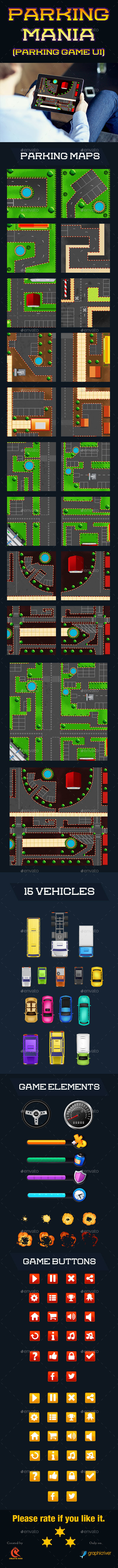 Parking Mania car game - User Interfaces Game Assets