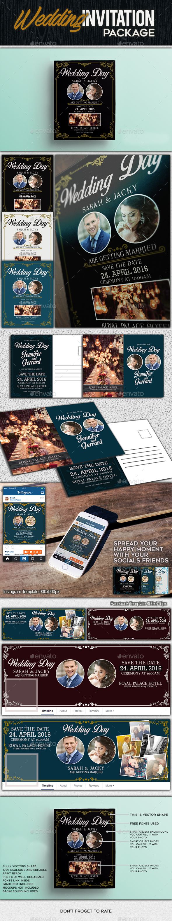 Wedding Package - Cards & Invites Print Templates