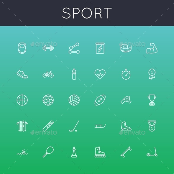 Vector Sport Line Icons - Miscellaneous Icons
