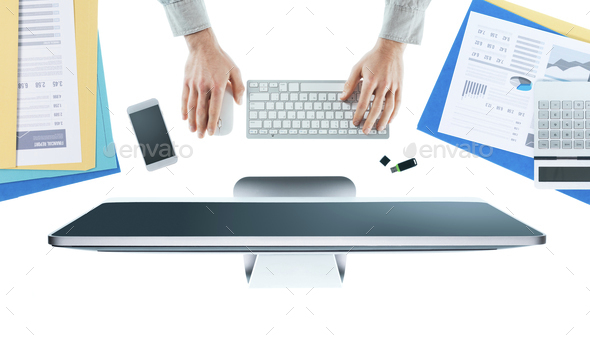 Businessman working at desk - Stock Photo - Images