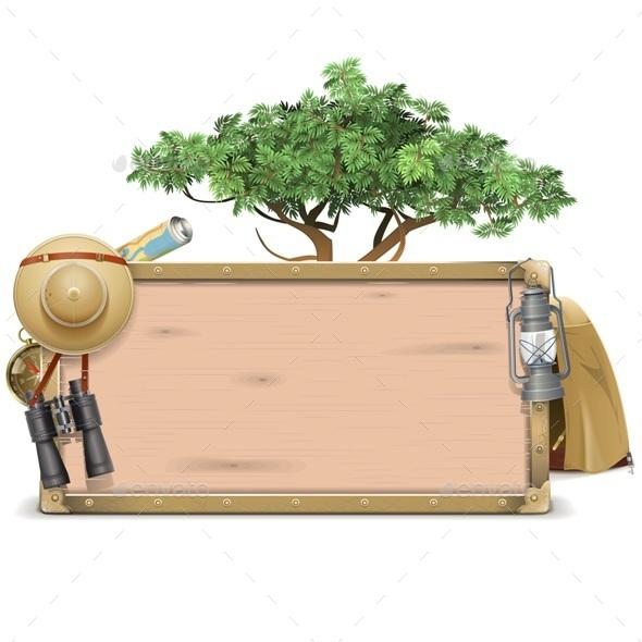 Safari Wooden Board - Travel Conceptual