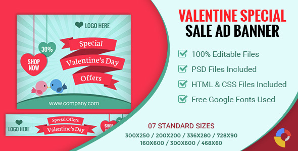 Valentine's Day | Sale Banner - 07 Sizes - CodeCanyon Item for Sale