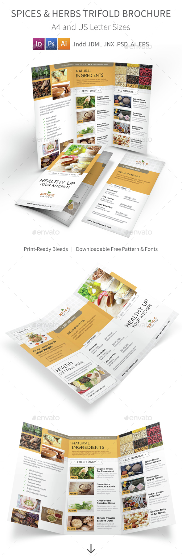 Spices & Herbs Trifold Brochure - Informational Brochures