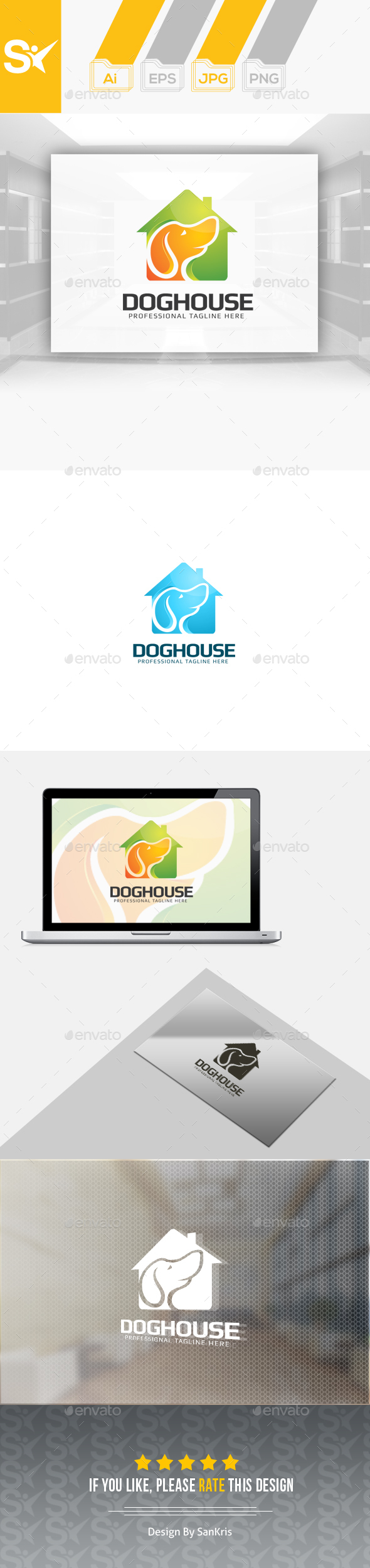 Dog House Logo - Animals Logo Templates