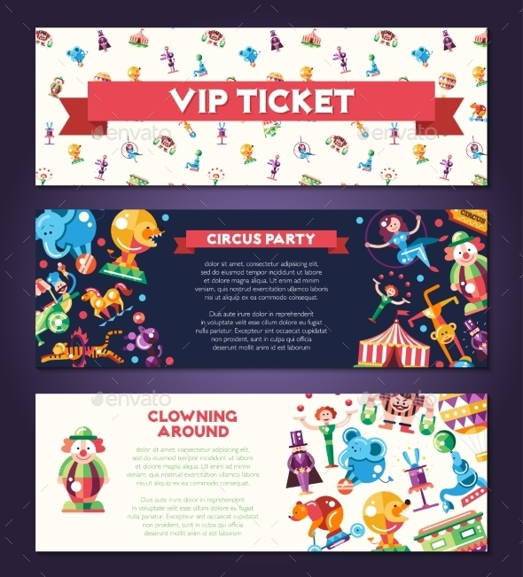 Circus Carnival Icons and Infographic Elements - Industries Business