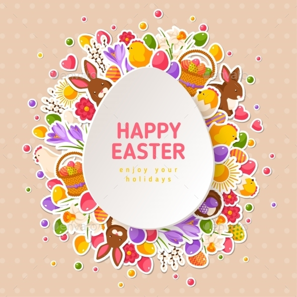 Easter Greeting Cards with Paper Cut Easter Egg - Miscellaneous Seasons/Holidays