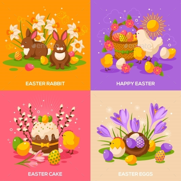 Set Of Easter Spring Holiday Concepts - Miscellaneous Seasons/Holidays