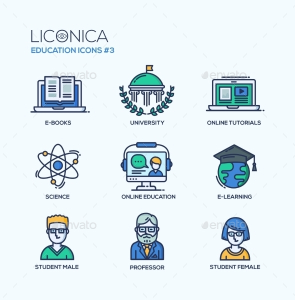 School and Education Thin Line Design Icons Set - Miscellaneous Conceptual