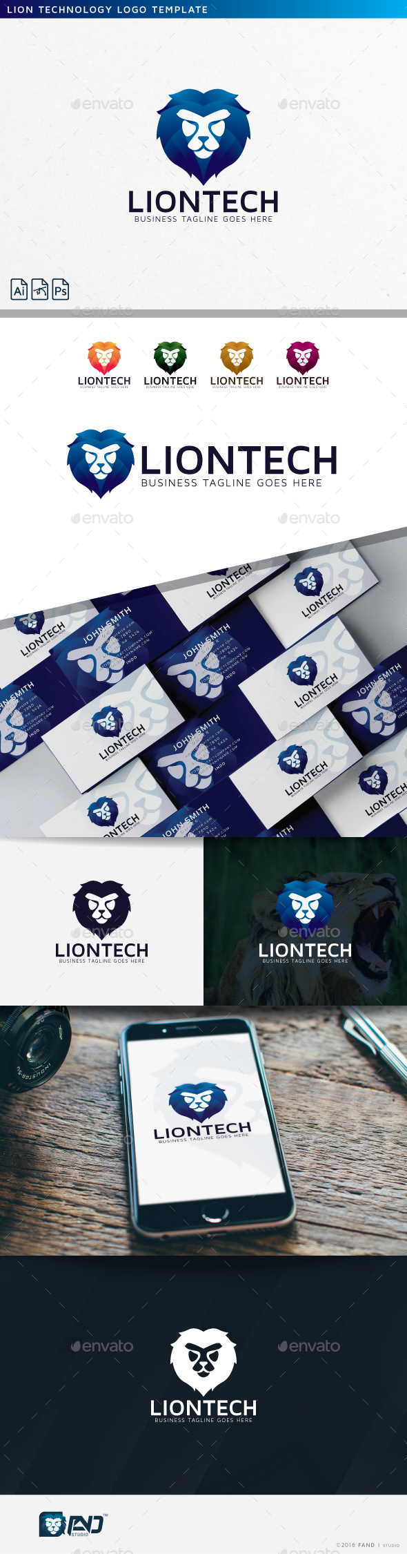 Lion Technology - Logo Template - Vector Abstract