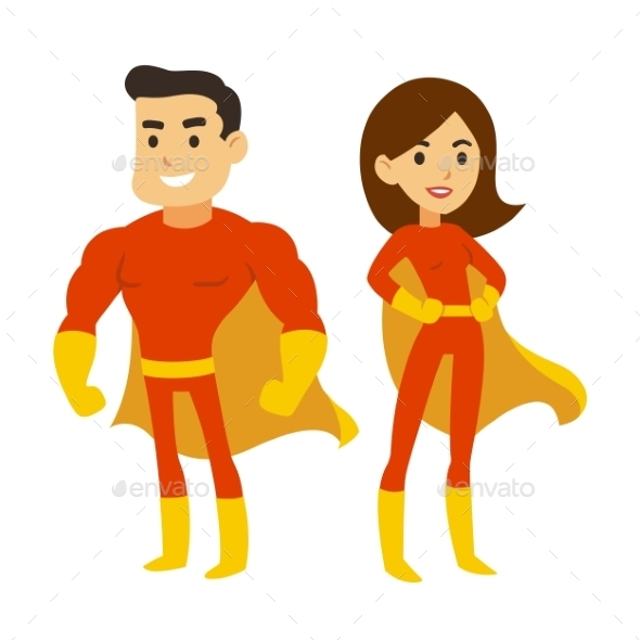 Superhero Man and Woman - People Characters