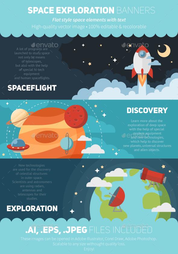 Flat Space Exploration Banners - Travel Conceptual