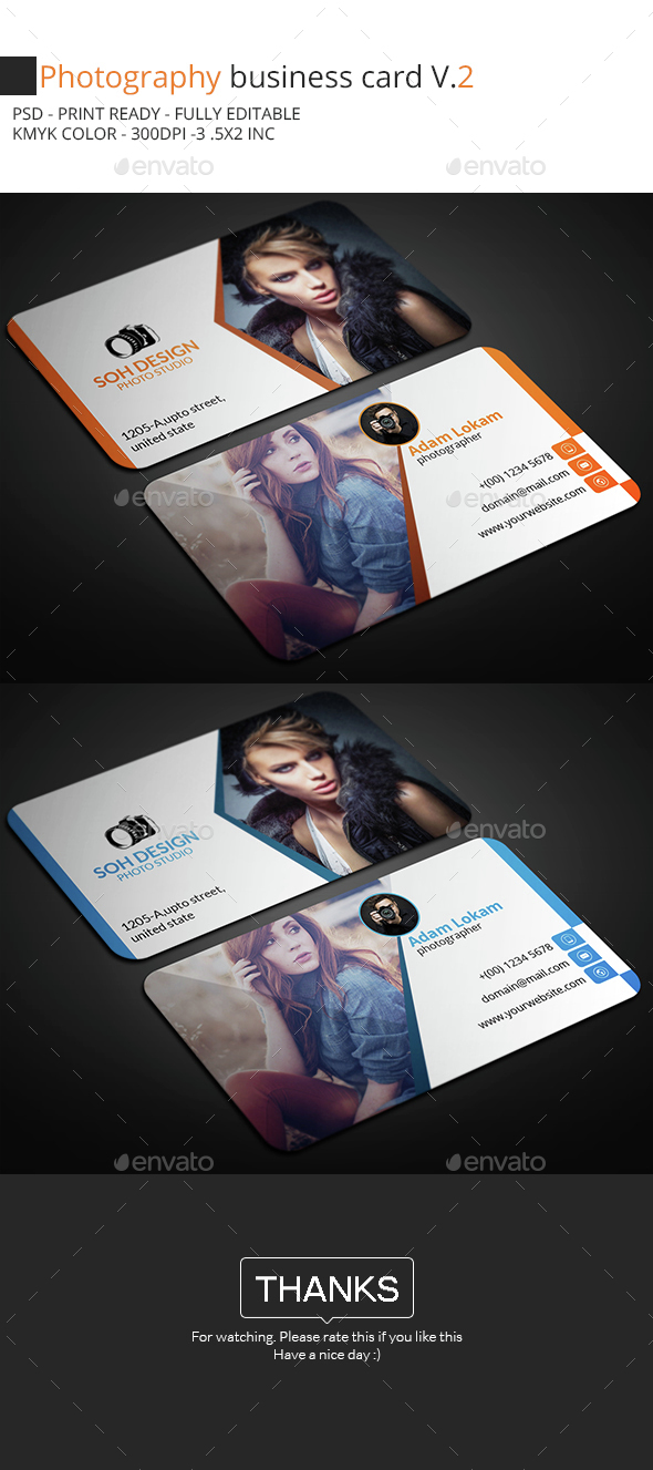 Photography Business Card V.2 - Business Cards Print Templates