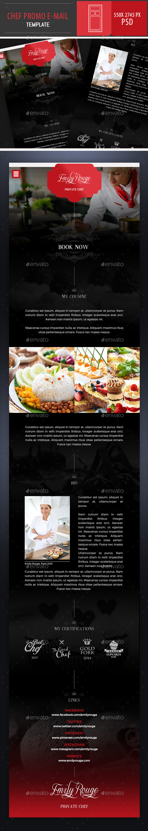 Chef Promo PSD E-mail Template - E-newsletters Web Elements