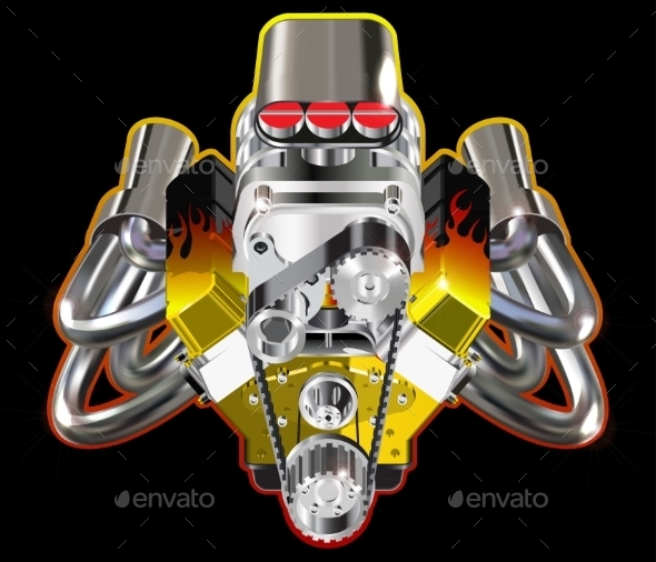 Hot Rod Engine - Man-made Objects Objects