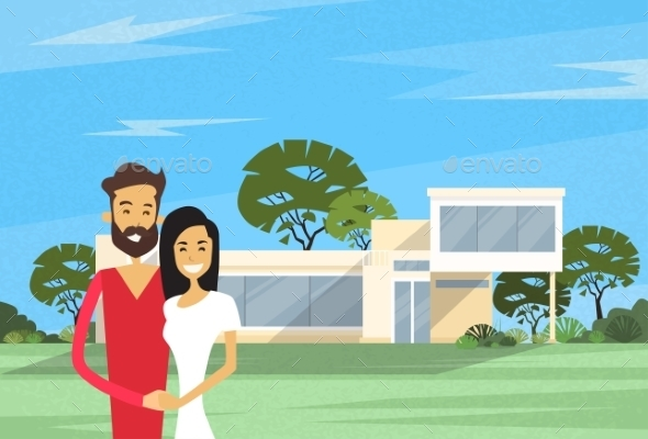 Couple Embracing In Front Of New House Modern - People Characters