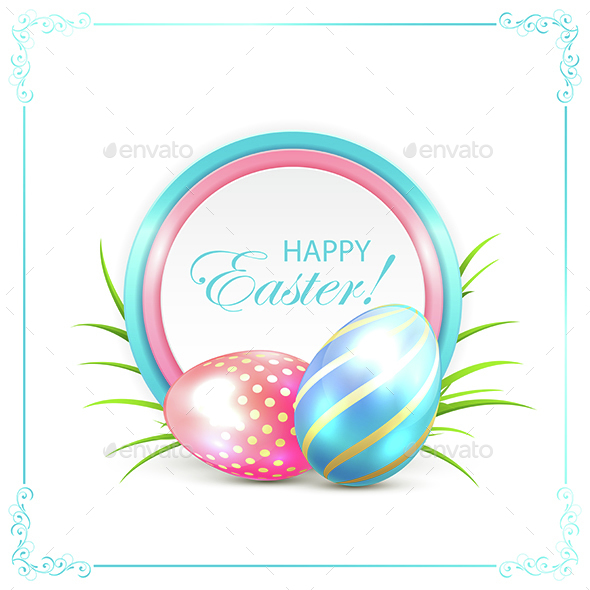 Easter Card with Blue and Pink Eggs - Miscellaneous Seasons/Holidays