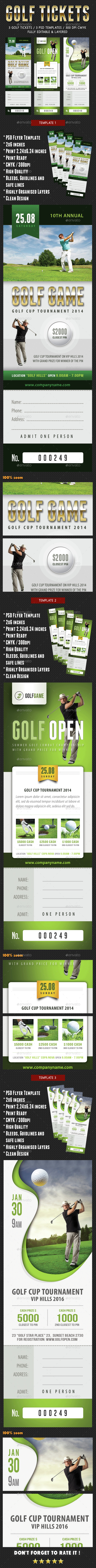 3 Golf Ticket Template Bundle - Sports Events