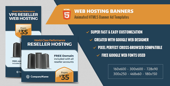 Web Hosting Banners - HTML5 Animated - CodeCanyon Item for Sale