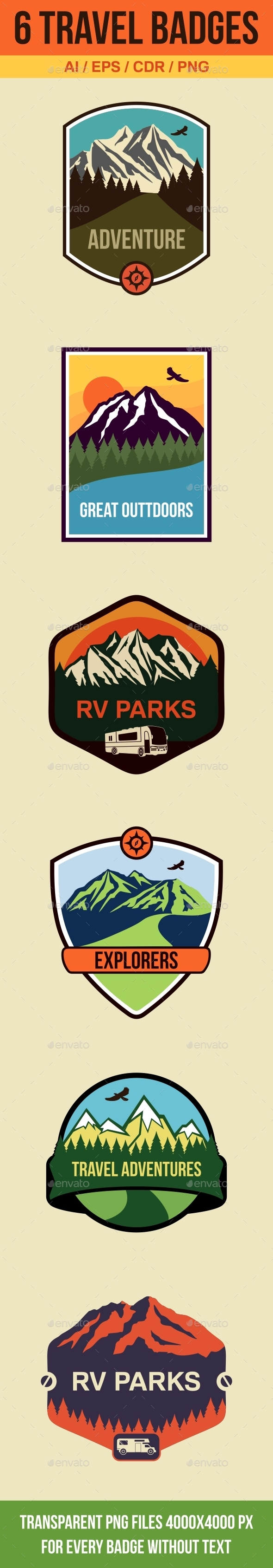 6 Travel Badges and Emblems - Travel Conceptual